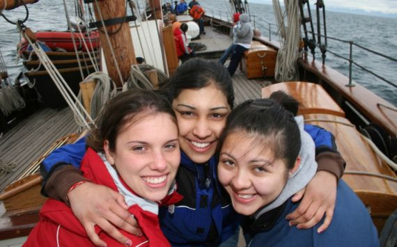 Trainees aboard the tall ship Pacific Grace